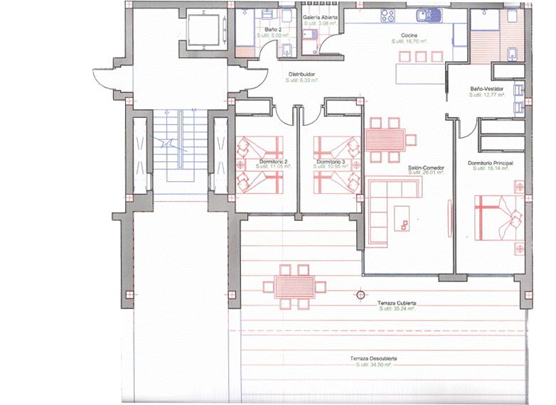 Baños Vestidores Deportivos:Plano apartamento 1 Altea Hills